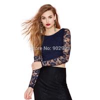 Fashion sexy rose cutout slim t-shirt top lace racerback basic shirt haoduoyi