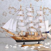 Sailing boat model decoration entrance wooden desktop home decoration crafts