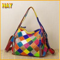 Stylish Women's Handbag Small Messenger Shopping Plaid Bag Genuine Leather Beach Bags  K435