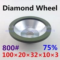 75%,800#,Sharpening wheel, bowl-shaped resin diamond sharpening wheel, green binder.75% 100*20*32*10*3.800#