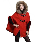 2014 Women autumn casacos femininos winter cloak wool coat overcoat fur collar cloak woolen outerwear cape female Free Shipping