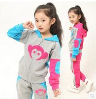 Children's clothing autumn female child set 2014 child casual sports sweatshirt long-sleeve child set