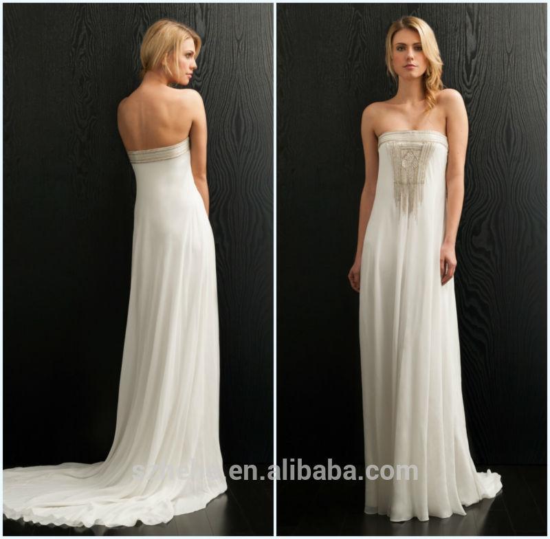 Beach Wedding Dresses For Mature Brides : Mature bride strapless beaded chiffon casual beach wedding dresses