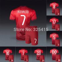 Portugal home red ronaldo soccer jersey and short football uniforms figo nani Meireles postiga Moutinho Coentrao