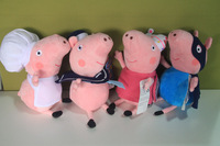 """Free Shipping EMS 100/Lot Peppa Pig Family Chef Cooks Sailor Fairy Ballerina Superman Peppa George Pig Plush Doll Toy 9"""""""