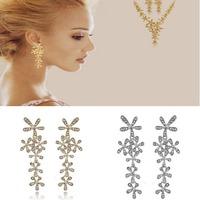 2014 New Fashion Full Rhinestone Crystal Long Snowflake Flower Dangle Drop Tassel Earrings For Women