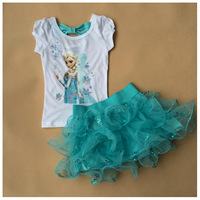 Girl Elsa Princess Clothing Sets Girls' Summer Frozen Tshirt & Skirts New 2014 Wholesale Kids Blue Clothes S-7779