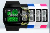 Skmei12pcs/lot  Fashion Seven colourful Military Sports Style Led Digital Watch Men Women Multifunction Wristwatch