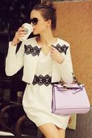Free shipping 2014 autumn new fashion women long sleeves dobby ball-gown dress,girl dress set,work style