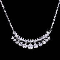 Elegant double zircon necklace streamline necklace zircon pendant crystal accessories princess necklace female