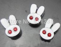 100pcs/lot 8mm red rhinestones rabbit slide charm diy alphabet accessories