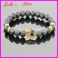 10PCS 8mm Black Lava Energy Stone Beads Bracelet Gold Hamsa Hand Yoga Mala Bracelets