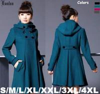 Lanluu Top Selling 2014 Winter Wool Coats Women Elegant Woolen Trench Long Coats Plus Size SQ852