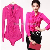 OL slim fit shirt Long sleeve office lady Occupation body shirt blouse Free shipping wholesale cheap bodysuits shirt vciv17