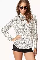 New Fashion Ladies' elegant cute glasses print cool blouses turn down collar long sleeve OL shirts casual slim  tops--H822