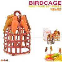 Free shipping birdcage fruit fork birds fork cutlery Creative forks 6pcs/set New Arrival
