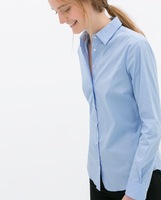 New Fashion Ladies' Elegant brief office lady blouses turn down collar long sleeve shirts casual slim  topss--H823