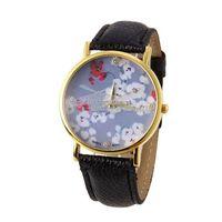 Free shipping 2014 New  Watch Leather Flower Quartz Watches Flower Ladies Wristwatches Fashion Wristwatches