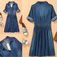 2014 New Autumn Women Casual Blue 3/4 Foldable Sleeve Denim Shirt Dress Button Front Knee Length Jeans dresses S-XXXXL Plus Size