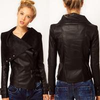 2015 Europe and America Leather Black Women Slim Coat Cool Fashion Lapel Long sleeve PU Leather Coat