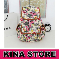 5 Colors Free shipping Preppy Style Women Floral Canvas Daily Backpack Laptop bag
