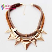 2014 new winter punk necklace fashion double cords gold metal triangle men & women's false collar pendant bijoux wholesale