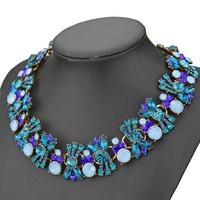 2014 new design fashion blue glass crystal rhinestone bib statement necklace