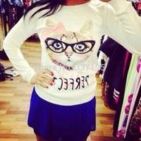 new 2014 woman's glasses kitty white sweatshirt casual women hoodies 3d printed sweatshirt sportswear pullover t-shirt