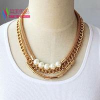 2014 winter costume chain necklace fashion gold muliti-layers curb chain tube simulated pearl women false collar choker bijoux