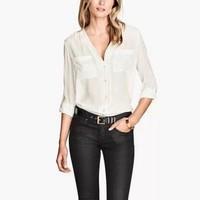 New Fashion Ladies' Elegant brief pockets office lady blouses V neck long sleeve shirts casual slim  tops--H825
