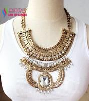 2014 new women's chunky luxurious necklaces fashion vintage retro gold finished stone designer big welding collar pendants