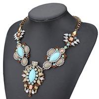 2014 new design fashion Turquoise Blue stone coffee color rhinestone shourouk pendant necklace