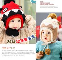 2014 new Retail 1piece Cartoon Dinosaur hats Handmade Children Crochet Hats Animal Styles Baby double ball  hat Kids Earflap cap
