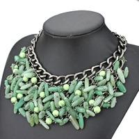2014 new design fashion full Natural stone tassel choker pendant necklace