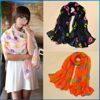 new Fashion Brand silk scarf women colorful neckerchief casual chiffon scarf