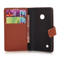 Free shipping&10pcs/Lot Litchi wallet leather Case Cover For  Nokia Lumia 530 with stand and card slot