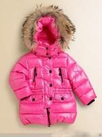 Retail   Brand   2014   New   fashion   autumn/winter   children's   down   coat   long  sleeve   zipper   hooded   girl's  coat