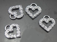 Wholesale 100pcs/lot rhinestone hollow heart hang pendant charms fit for diy phone strips