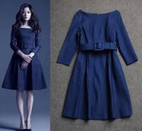 free shipping 2014 Gianna Jun star dress the same paragraph, Autumn European station crew neck Sleeve Slim denim dress sent belt