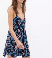 New Fashion Ladies' Elegant floral print Dress sexy backless spaghetti strap causal slim evening party brand design dress