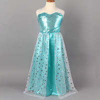 2014 sexy elsa anna girls baby kids dress for movie children clothing halter sleeveless gauze party fancy costumes
