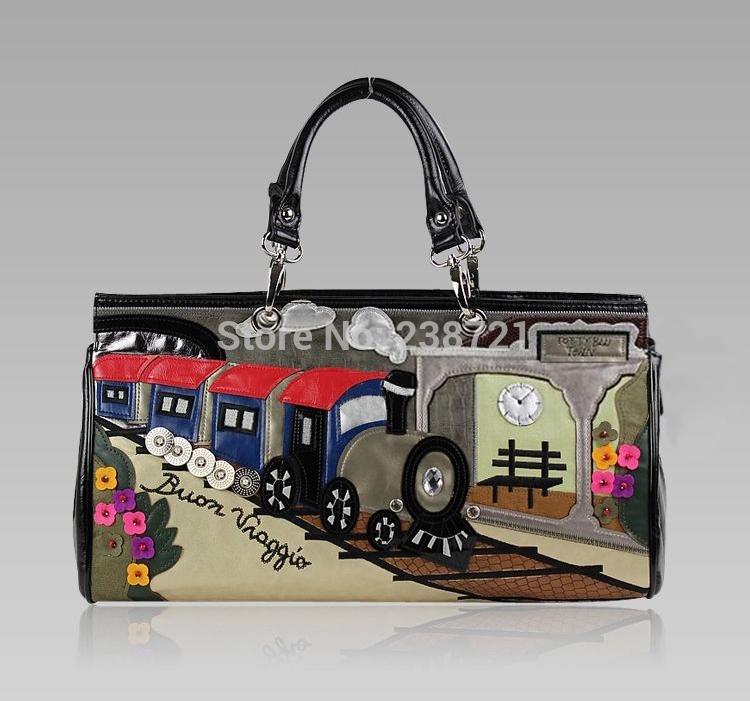 Borsa Tottyblu BRACCIALINI Italy Handicraft Art Story-telling Design Women Shoulder Bag Vintage Edition Train(China (Mainland))