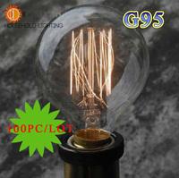 (100PC/LOT)Wholesale Price(G95)Vintage Edison light Bulbs For Decoration,Fashion Incandescent Edison Bulb Fixture,E27/220V,