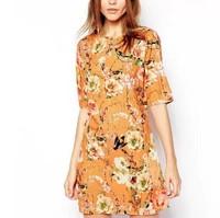 New Fashion Ladies' Elegant floral birds print zipper Dress O neck short sleeve causal slim evening party dress--H830