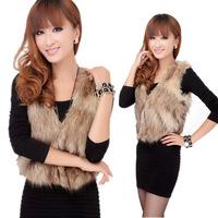 Fashion Women Sleeveless Coat Waistcoat Winter Warm Faux Fur Short Vest Jacket FPC073