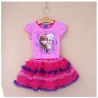Girl Elsa & Anna Princess Dress Girls' Summer Frozen Dresses New 2014 Wholesale Kids Hot Pink Clothes S-1697