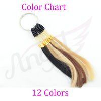 10pcs 1 Color Ring/ Color Chart With 12 Colors For Human Hair Extensions/Beauty Salon Use