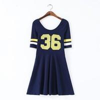 New Fashion Ladies' Elegant Numbers print sports Dress O neck short sleeve casual slim evening party brand designer dress
