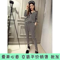 2014 autumn new casual stripe suit, shirt + trousers