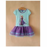 Girl Elsa & Anna Princess Dress Girls' Summer Frozen Dresses New 2014 Wholesale Kids Clothes S-4467